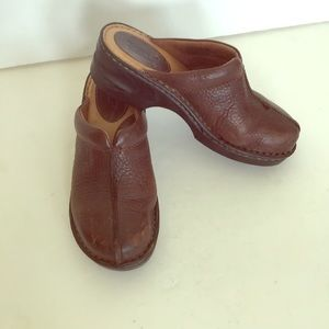 Born brown leather clogs mules